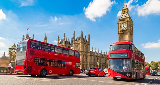 Big Ben, Westminster Bridge and red double decker bus in London, England, United Kingdom